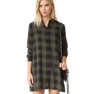 BB Dakota Green Plaid Shirt Dress